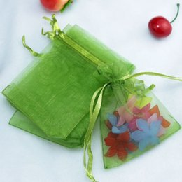 $enCountryForm.capitalKeyWord Canada - Wholesale 100pcs Olive Green Organza Bag 5x7cm Small Jewelry Package Bag Wedding Gift Packaging Organza Gift Bags & Pouches
