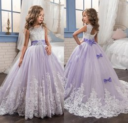 Wedding Beautiful Girl Dresses Canada - New Arrival 2018 Beautiful Lavender Flower Girls Dresses Beads Bow Lace Appliques Wedding Prom Birthday Communion Toddler Kids TuTu Dress