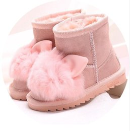 China Princess Girls Rabbit Shoes Snow Boots for Girls Winter Shoes with Natural Fur Kids Genuine Leather Boots Ankle Boots for Girls supplier kids boys snow shoes suppliers