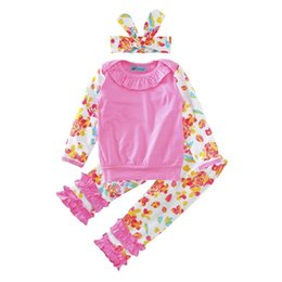 Vendas Al Por Mayor De La Camiseta Baratos-Venta al por mayor Girls Baby Childrens Clothing Sets Flowers Butterfly T-shirts Pantalones Headbands Set Primavera Otoño Niña Niños Trajes de Ropa