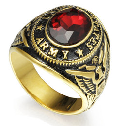 $enCountryForm.capitalKeyWord Canada - Retro Vintage Gold Plated Size 7-15 Stainless Steel Army Military Ring Red Ruby Crystal Gemstone Signet Cocktail School Memorial