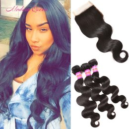 Pièces De Machines Peu Coûteuses Pas Cher-Raw India Bundles Hair Unprocessed Body Wave avec fermeture à lacets Cheap Top 3 Bundle Indian Body Wave Closure Trois Free Middle Part Choice