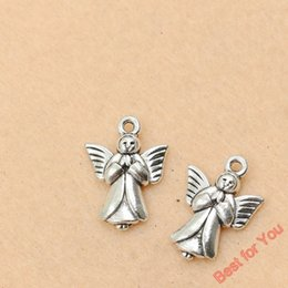 $enCountryForm.capitalKeyWord Canada - 100pcs Vintage Antique Silver Plated Angel Fairy Charms Beads Pendants For Jewelry Making Diy Handmade 20x14mm jewelry making