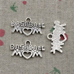 $enCountryForm.capitalKeyWord Canada - 62pcs Charms baseball mom heart 15*27mm Antique Silver Pendant Zinc Alloy Jewelry DIY Hand Made Bracelet Necklace Fitting