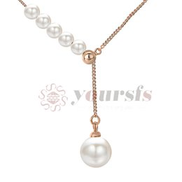 $enCountryForm.capitalKeyWord NZ - Yoursfs Elegant White Natural Simulated Pearl Sweater Necklaces &Pendants For Women Rose Gold Silver Color Long Chain Dress 2017