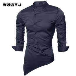 Simple Robe Beige Décontractée Pas Cher-Vente en gros- WSGYJ Hommes Chemise Luxe Marque 2017 Homme Chemises manches longues Casual Mens Simple-Breasted Slim Fit Robes Hommes