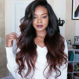 two tone brown hair color 2019 - T1b 30 Two Tone Ombre Lace Front Human Hair Wigs For Black Women 260% High Density Indian Virgin Hair Wavy Front Lace Wi