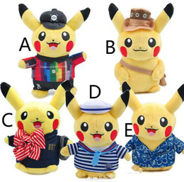 $enCountryForm.capitalKeyWord Canada - 2016 Cute Pikachu Plush Doll Toy lovers sweethearts pikachu plush toy in navy  Cheer suit Hawaii clothes New Trendy Gift For kids free ship