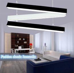 Discount modern ceiling lights for living room - 120cm office LED aluminum rectangular ceiling pendnat light modern silver led chandelier lamp fixture for dining room re