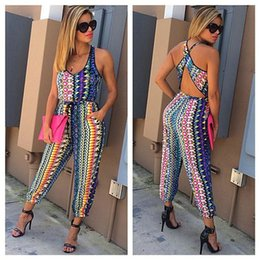Barato Tops Chiffon-2016 Wholesale-Two Piece Set Tiras Womens Solid Print Fabric Top e Pants Trajes para Mulher Hollow Out Vestuário Casua Vintage Ladies Suits