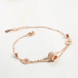 Handmade Sterling Silver Bracelets Canada - handmade S925 Sterling Silver Rose gold bracelet jewelry inlaid jewelry Korean micro pave zircon manufacturers fashion products for women