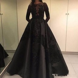 Barato Zuhair Renda Preta-Modest 2017 Formal Zuhair Murad Vestidos de noite Black Lace de manga comprida Arab Dubai Fashion Celebrity Prom Party Gowns