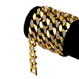 Discount 24k gold asian chain necklace 128g Heavy 24K Solid Gold Plated MIAMI CUBAN LINK Extra-coarse Exaggerated Shiny Diamante Necklace Hip Hop Fine Jewelry Hipster Men Chains