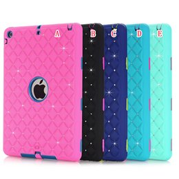 armor tablet 2018 - 3D Rhinestone Hard PC Silicone Case Diamond Bling Armor Hybrid 3 in 1 Shockproof Heavy Duty Defender For Ipad 2 3 4 5 Ai