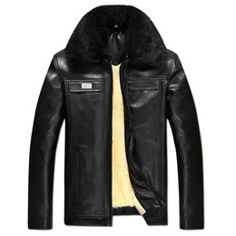 leather coats fur collars UK - VESONAL Autumn Winter Faux Fur Collar PU Leather Jacket Men Thick Warm Velvet Mens Jackets Coat Vintage Male Casual Motorcycle