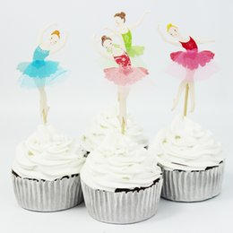 Xmas Cupcakes NZ - Beautiful Ballet Girl Cupcake Wrappers Decorating Inserted Card Stands For Birthday and Xmas Decoration Supplies free shipping