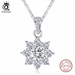 ec6b62fc1019 Orsa Jewels Luxury Crystal Snowflake Pendants  Necklaces Genuine 925  Sterling Silver Necklace Gift For Women Sn44