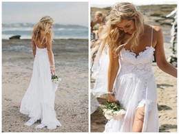 Barato Vestido De Praia Branco Sem Costas-Sexy Split Beach Wedding Dresses 2018 Spaghetti Backless Branco Marfim Lace Cheap Bridal Gowns Vestidos de dama de honra