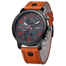 Wholesale Luxury Brand Men Watches PU Leather Quartz Analog Wristwatch Three Eye Casual Sports Watches Male Relogio Masculino