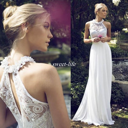 Casual halter neCk wedding dresses online shopping - Sexy Bohemia Casual Sheath Wedding Gowns Cheap Riki Dalal Wedding Dresses Halter Lace Flowers Chiffon Long Bridal Formal Party Wear