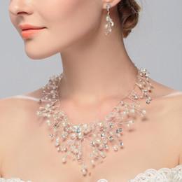 $enCountryForm.capitalKeyWord Australia - Elegant Wedding jewelry set Bridal Top Quality handmade Pearl Rhinestone diamonds Necklace and Earrings Sets Party Jewelry for Party Bridel