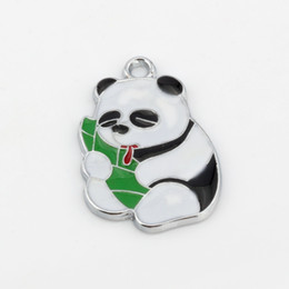 Wholesale panda charms for sale - Group buy Hot Enamel Panda eating bamboo shoots Charm Pendant X MM DIY Jewelry