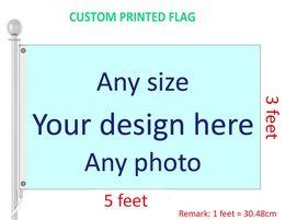 Venta al por mayor de 3x5 pies de la bandera personalizada y banner de cualquier logotipo de cualquier color 100D poliéster impresión digital con cobertura de eje ojales