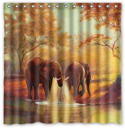 thirsty wild elephant design shower curtain size 180 x 180 cm custom waterproof polyester fabric bath shower curtains