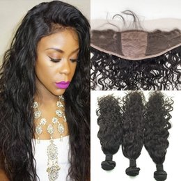 russian hair lace closure Canada - Silk Based Ear To Ear Lace Frontal Closure With Bundles Malaysian Virgin Hair Water Wave 13x4'' Silk Top Lace Frontal With Bundles
