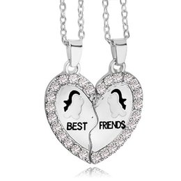 Unique Best Friend Jewelry UK - Best Friends Penguin Necklace Set Silver Plated Rhinestone Decorated Necklaces Gift Idea Unique Jewelry Chokers Necklaces