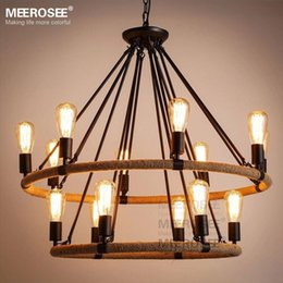 American Style Pendant Lighting Fixture 2 Rings Vintage Antique Suspension Lamp Edision E27 Bulbs Hanging Light For Dining Room