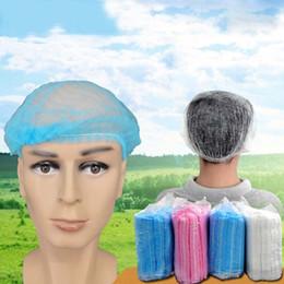 Disposable hair cap spa wholesale online shopping - 100PCS Women Men Disposable Shower Caps Non Woven Pleated Anti Dust Hat Bath Caps for Spa Hair Salon