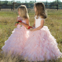 flower girls short lace dresses Canada - Pink Ruffles Floor Length Flower Girl Dresses Top Lace Jewel Neck Short Sleeves Girls Pageant Dresses Princess Birthday Dress