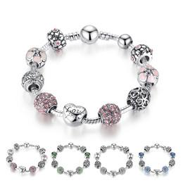 Großhandel Heiße Art Feine tibetische Silber Perlen Armband Pandora Charms Glasperlen DIY Perlen Stränge Armband Rosa Weiß Blau Grün 4 Farben Optional