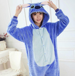Animaux Adultes Pas Cher-Anime Unisexe Adulte Animal Pyjamas / Bleu Lilo point Onesie cosplay costume de nuit Tous Taille