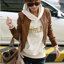 $enCountryForm.capitalKeyWord Canada - free shipping 2017 girl autumn winter women new fashion clothing short design casual pu leather jackets girls coats outerwear black brown