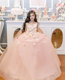 Anniversaire Belle Balle Pas Cher-Robes en fleurs 3D en pétales en fleurs Robes en argent 2017 Belle robe de bal rose belle Tulle Sheer Neck Custom Made Child Birthday Party Robe de communion
