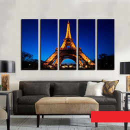 eiffel tower canvas prints 2019 - 5 Piece Night View of The Eiffel Tower Oil Painting Wall Art Picture Home Decoration Living Room discount eiffel tower c