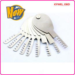 $enCountryForm.capitalKeyWord NZ - New Arrival HUK 9 pcs Auto Foldable Scissors deft Car Lock Opener folding comb locksmith tools Lock Pick,Locksmith tools