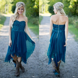 Robe De Demoiselle Pas Cher-Simple Country Robes de demoiselle d'honneur 2018 Short Cheap For Wedding Teal Chiffon Beach Lace High Low Ruffles Party Maid Honor Gowns Under 100