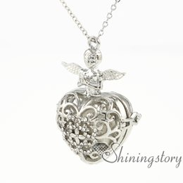 $enCountryForm.capitalKeyWord Australia - angle wings heart essential oil necklace wholesale diffuser necklace wholesale lockets essential oil diffuser pendant metal volcanic stone