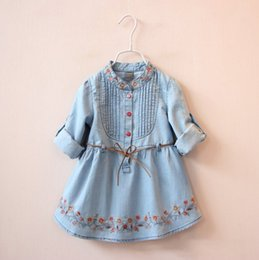 EmbroidErEd linE flowEr girl drEss online shopping - Good Quality Denim Dress Girls Soft Cotton Denim Dresses Baby Long sleeve Flower embroidery Denim Dresses Kids Spring Autumn Dresses