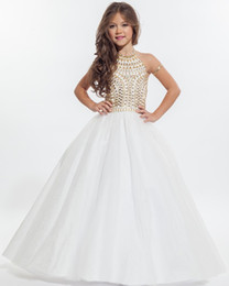 $enCountryForm.capitalKeyWord Canada - White Halter Flower Girl Dresses 2016 Beautiful Gold Beaded Kids Pageant Dress Little Girls Wedding Party Ball Gowns