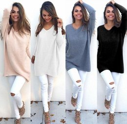 Barato Cores De Pulôver-Mulheres V Neck Pullover Loose Sweater Casual Long Sleeve Tops Pullover Sweatshirt Jumper Kintted Sweaters 7 cores OOA3417