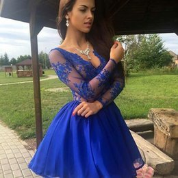 Blue Hollow Canada - Garden Sexy Romantic Party Dresses A Line V Neck Hollow Long Sleeve Mini Illusion Bodice Royal Blue Sexy Back Celebrity Dresses 2018
