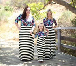 plus size mother daughter matching clothes 2019 - mother daughter clothes family matching dress baby stripe printing clothing girl long skirt dress children casual plus s