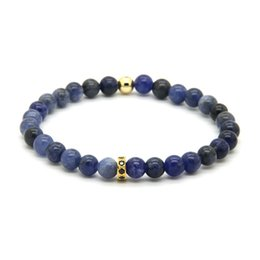 blue veins stone 2019 - Wholesale 10pcs lot High Grade Jewelry 6mm Blue Veins Stone with Micro Inlay Black Zircons Spacer Cz Bracelets Gift chea
