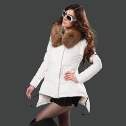 pink down coats for women Canada - Winter Jackets for women White Duck Down Fashion Brand Coats Real Fur Trim Hood Down dress