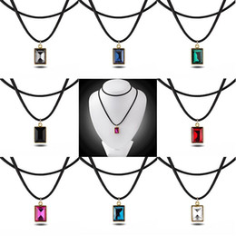 $enCountryForm.capitalKeyWord Canada - trendy Imitation Square rectangle Faceted gem necklace Red black purple green blue pink Transparent crystal pendant ruby necklace women x310