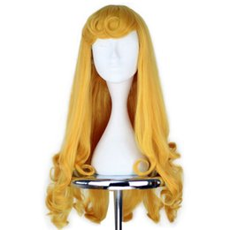 China Synthetic Girl's Prestyled Princess Wig Long Curly Golden Yellow Hair Cosplay Costume Party Wig Halloween supplier golden cosplay suppliers